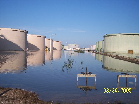 Figure 2. The refinery sustained relatively minimal flooding thanks to a five-mile-long dike installed after Hurricane Georges in 1998.
