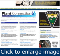 The Plant Connection homepage is divided into two columns.