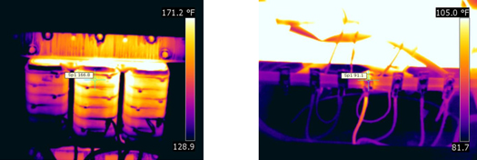 Figures 20 and 21. The right image shows hot windings on a dry-type transformer under balanced loads. When uneven winding temperatures are encountered during an inspection, it's important to check load conditions to determine the cause of the thermal exception. The right image shows a hot neutral wire under elevated load. Typically, the neutral leg will have a higher load than the hot legs when harmonic problems are present.