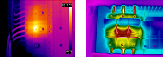 Figures 5 and 6. The left image shows a centralized heating pattern on a three-phase circuit breaker with an internal contact problem. The right image shows an internal contact problem on the A-phase with a thermal pattern that propagates through the entire breaker.