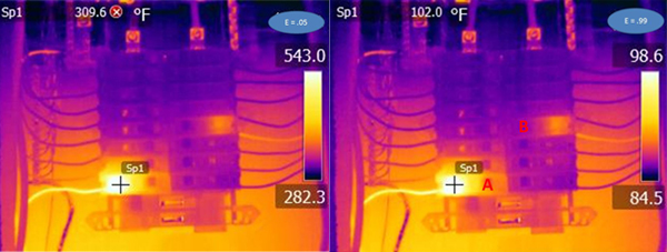 "Figure 2. In the image to the left, the emissivity is placed at a very low setting to show how the imager interprets the input variables. At right, te same image is shown with the emissivity set to 0.99. Notice the change in temperature. Without all variables being known and taken into account, the exact temperature will not be known. But the image is still qualitative and an experienced thermographer is able to interpret the image for useful information without the temperature reading. The breaker at ""A"" is rated for 15 A and is currently loaded at 9.7 A (65% of capacity). The breaker at ""B"" is rated for 20 A and is currently loaded at 7.6 A (38% of capacity). The infrared condition of the wire tells the story. No amount of tightening will change the condition of the fuse. The loading on Circuit ""A"" is above optimum"