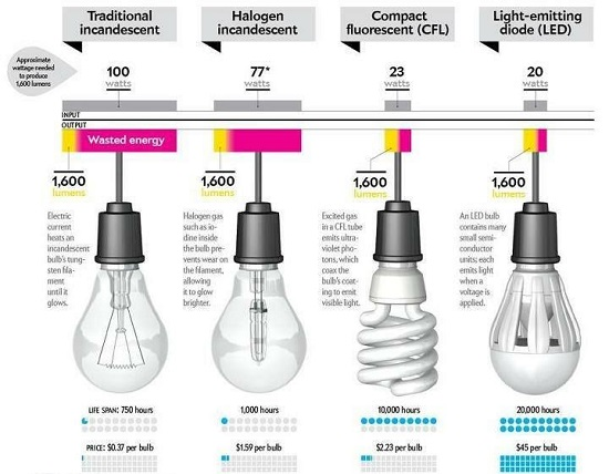 infographic wasting energy and money with the wrong light bulb. Black Bedroom Furniture Sets. Home Design Ideas