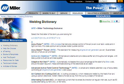 Miller Electric's welding dictionary